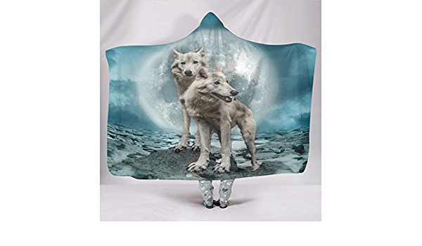 Magical Sky Mysitcal Wolf Friendly Husky Spiritual Tribal Hooded Blanket Pastel Print Baby Blue Husky Colorful Throw