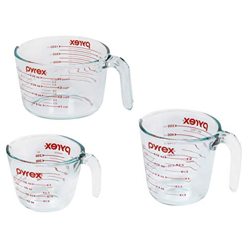 Pyrex Measuring Cups, 3-Piece, Clear (Number Lines Print)