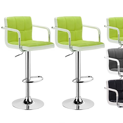 Woltu ABSX1010agn set of 2 Luxury Faux Leather Bar Stools Kitchen Stools Breakfast Barstools with Backs and Arms in Apple Green and White Bar Stools Gas Strut Adjustable H35.8-44.1xW20.1xD14.6 in (With Stools Backs Breakfast Bar)