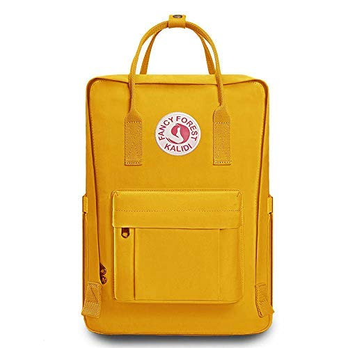 KALIDI Casual Backpack for Women,15 Inches Laptop Classic Backpack Camping Rucksack Travel Outdoor Daypack College School Bag, Yellow by KALIDI