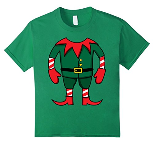 Kids Funny Elf Christmas Group Costume Idea T-Shirt Dwarf Team 8 Kelly Green
