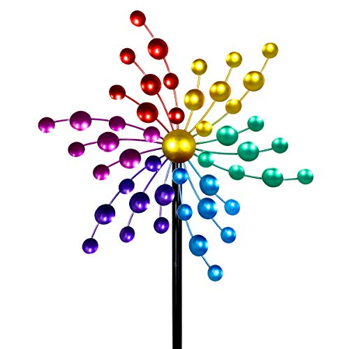 (Exhart Kaleidoscope Wind Spinner Garden Metal Stake - Garden Pinwheels w/Multicolor Hand-Painted Kinetic Spinners Decorations - Colorful Garden Windmills Yard Art Decor, 17 x 60 Inches)