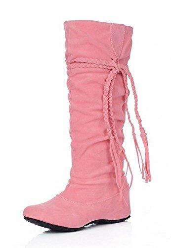 Aisun Womens Pretty Cute Omzoomd Kwastje Ronde Neus Lift Lage Hak Jurk Slip Op Onder De Knie Hoge Hoge Laarzen Schoenen Roze
