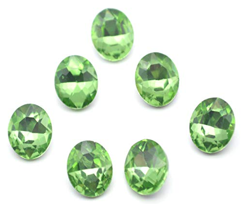 Oval Charm Green - Catotrem Oval Rhinestone Glass Faceted Round Diamond Silver Pointback Beads for Charm Jewelry 8X10mm 60pcs(Green)