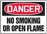 Accuform Signs 7'' X 10'' Black, Red And White 0.040'' Aluminum Smoking Control Sign ''DANGER NO SMOKING OR OPEN FLAME'' With Round Corner