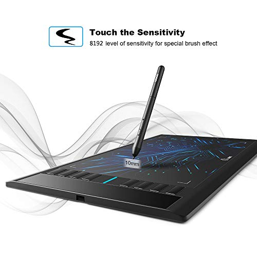 UGEE M708 Graphics Tablet, 10 x 6 Inch Large Drawing Tablet, 8192 Levels  Pressure Battery-Free Pen Stylus, 8 Hotkeys, Compatible With Windows 10/8/7