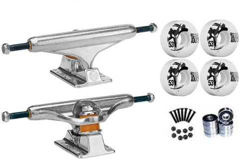 Independent Silver 129mm Truck Package Skateboard Bones 100's Wheels 53mm Abec 7 Bearings