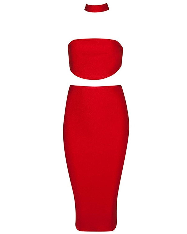 Whoinshop Damen 2 Stück Backless trägerloses Top und Bleistiftrock VerbandKleid