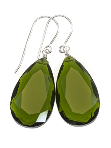 Olive Quartz Earrings - Sterling Silver Green Simulated Olive Quartz Earrings Faceted Large Teardrops Simple Briolette Drops