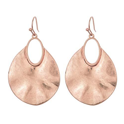 - Gold Silver Hammered Earring Metal Teardrop Leaf Ethnic Statement Drop Dangle Earrings for Women (rose gold)
