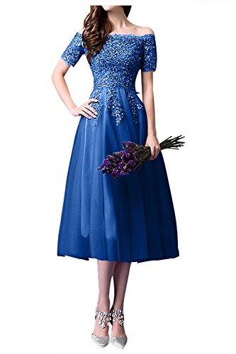 Partykleider Glamour Blau Wadenlang Abendkleider Tuell Brautmutterkleider Traube La Kurz Royal Braut Spitze Marie wqaxR6z