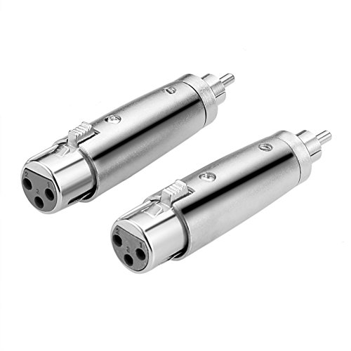 Eightnoo 3 Pin XLR Female to RCA Phono Plug Audio Adapter Silver Tone - XLR-F to RCA-M Coupler Adapters, Pack of 2