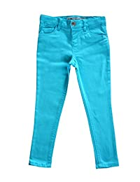 Girls Plain Skinny Jeans Cotton Trousers Turquoise Blue Yellow Pink Age 3 - 13 Years