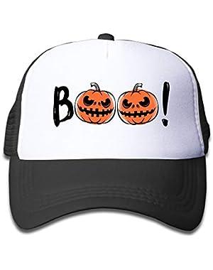 Halloween Boo Pumpkin On Boys and Girls Trucker Hat, Youth Toddler Mesh Hats Baseball Cap