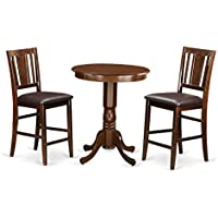 East West Furniture EDBU3-MAH-LC 3 Piece High Table and 2 Kitchen Bar Stool Set