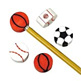 12 Sports Eraser Pencil Top Party Favors Baseball & Basketball