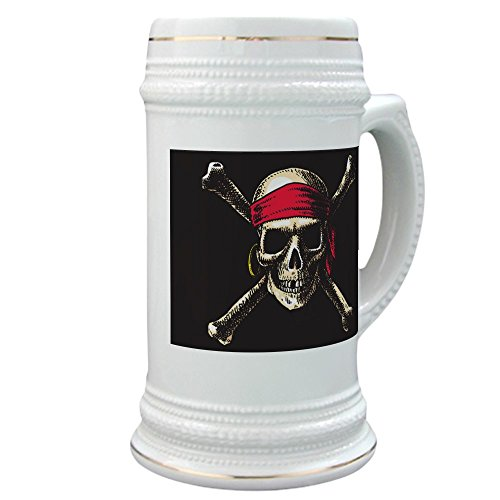 - Stein (Glass Drink Mug Cup) Pirate Skull Crossbones
