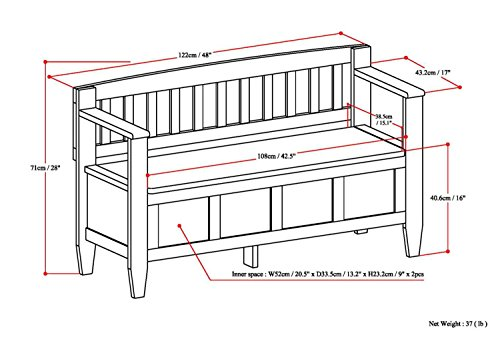 Simpli Home Brooklyn Solid Wood Entryway Storage Bench, Medium Saddle Brown by Simpli Home (Image #7)