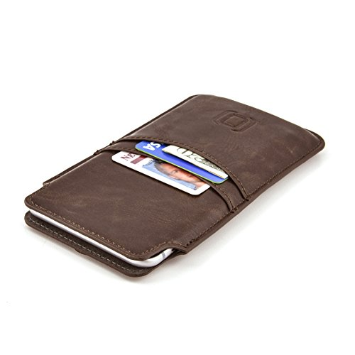 Dockem Wallet Sleeve for iPhone 8 Plus, 7 Plus, 6 Plus, and 6S Plus - Vintage Synthetic Leather Card Case; Ultra Slim Professional Executive Pouch Cover with 2 Card Holder ()