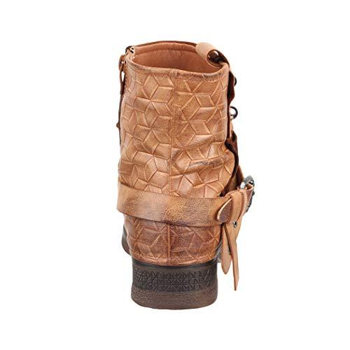 Camel Remaches Aspecto London Mujer Boots Botines Metallic Biker De Piel Elara Hebillas Prints Forrado ZYxf77