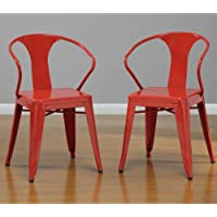 Red Tabouret Stacking Dining Modern Steel Metal Chairs (Set of 4)