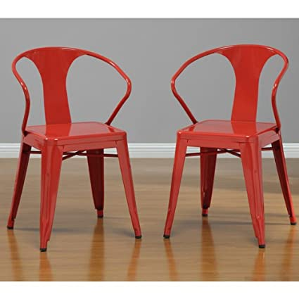 amazon com red tabouret stacking dining modern steel metal chairs