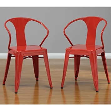 Superb Red Tabouret Stacking Dining Modern Steel Metal Chairs (Set Of 4)