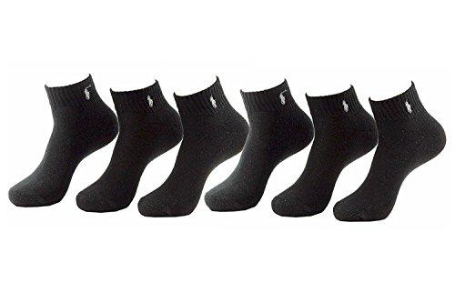 Polo Ralph Lauren Men's 6-Pairs Quarter Black Socks Sz: 10-13 fits shoe 6-12.5 ()