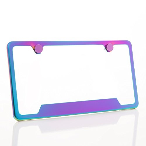 Frame Tags Plate (One Polish Mirror Neo Chrome T304 Stainless Steel Bottom Cut Out License Plate Frame Holder Front Or Rear Bracket with Metal Screw Cap)