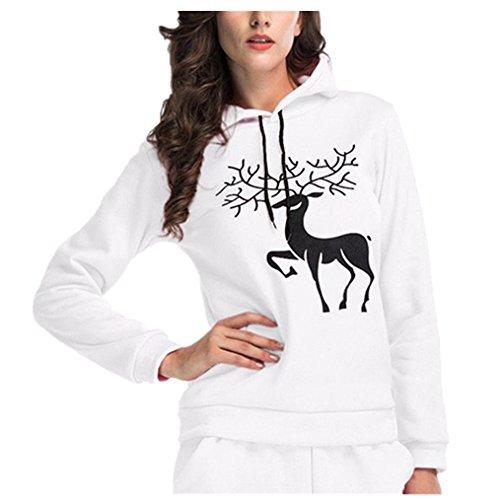 Printed Long Tops Sweatshirt Elk Sleeve Hoodie Keepwin Hooded Christmas Women White Casual fSq6xp