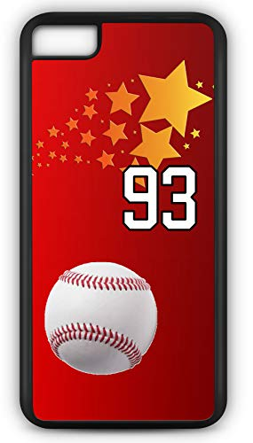 iPhone 6 Plus 6+ Case Baseball Ground Rule Double Customizable by TYD Designs in Black Rubber with Team Number 93 (Rules Ruth Baseball Babe)