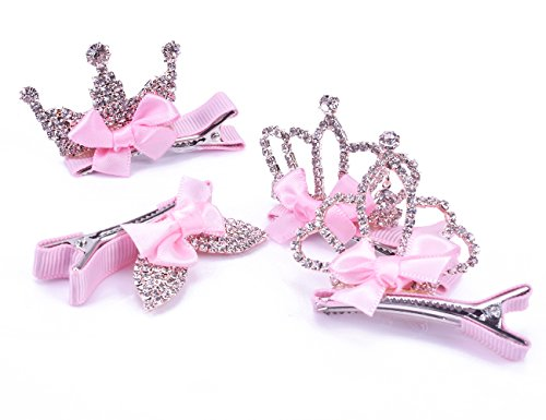 - GEOOT Infant Toddler Girl's Diamond Crown Hair Pin Princess Hair Clips Kids Party Hair Accessory- Set of 4 (Pink)