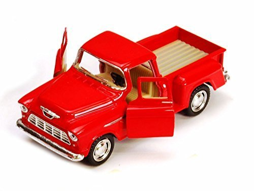 1955 Chevy Stepside Pickup Truck, Red - Kinsmart 5330/6D - 1/32 scale Diecast Model Toy Car ()