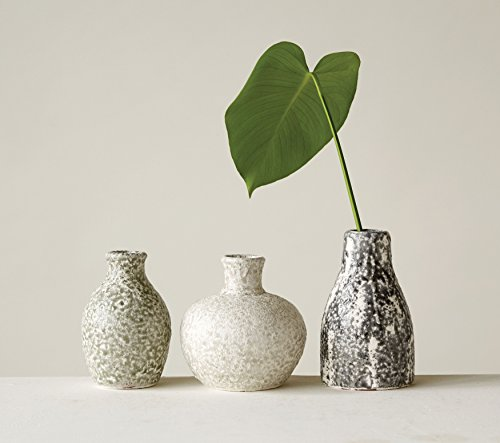 Creative Co-op Distressed Grey Terracotta Vases Set