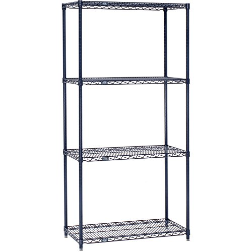 Nexel 18246N Wire Starter Shelving Unit, 4 Shelves, Nexelon Finish, 24