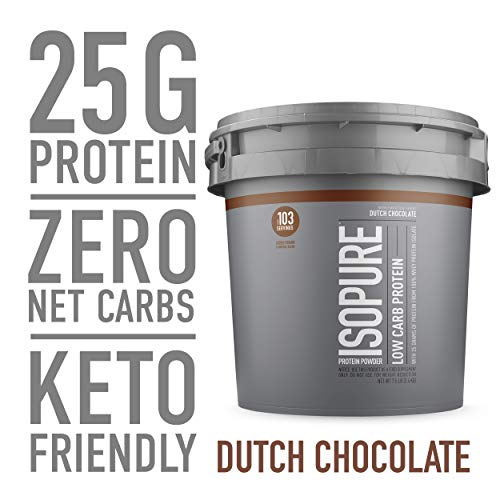 Isopure Low Carb, Keto Friendly Protein Powder, 100% Whey Protein Isolate, Flavor: Dutch Chocolate, 7.5 Pounds (Packaging May Vary)