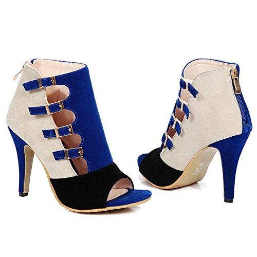 AicciAizzi Bout Femmes Blue Talons Booties Ouvert wRHvrqw