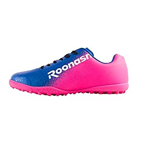 ROONASN Kids' Outdoor/Indoor Soccer Shoes Football Training Cleat Shoes (1, Red/Blue,Little Kid)