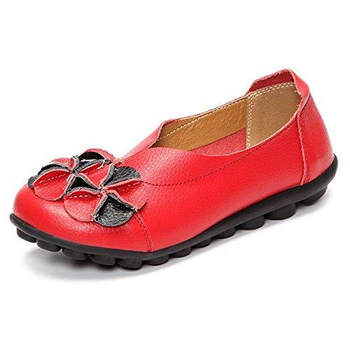 ZHRUI Scarpe da donna di grandi dimensioni con mocassini da donna infradito piatte in morbida pelle piatta (Colore : Rosso, Dimensione : EU 39) Rosso