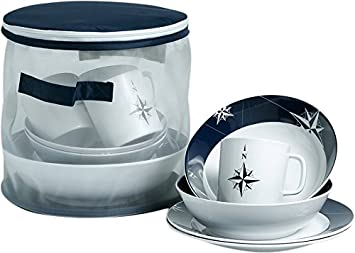 MB Coastal Designs Northwind Nautical 16-Piece Shatter Proof Dinnerware Set Navy Blue/  sc 1 st  Amazon.com & Amazon.com | MB Coastal Designs Northwind Nautical 16-Piece Shatter ...