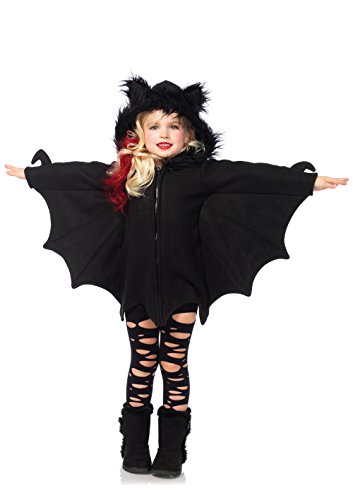 Leg Avenue's Girl's Cozy Bat Zipper Dress Costume, Black, Medium