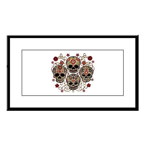 Small Framed Print Flower Skulls Goth (Framed Skull Print Small)
