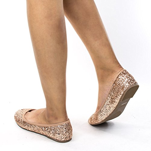 Ballerine Glitter Scintillanti In Metallo, Ballerina Da Donna