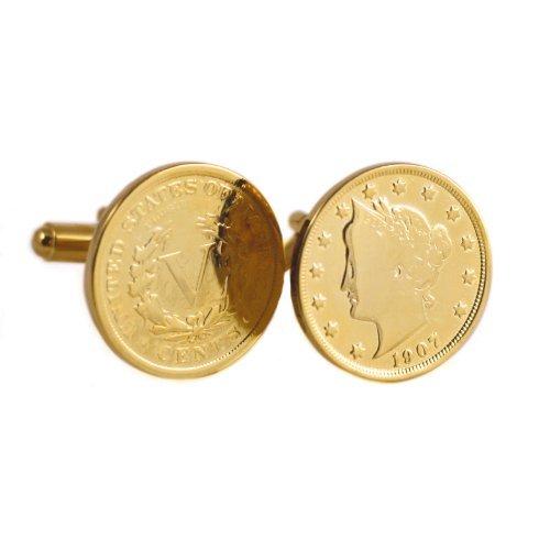 - Gold-Layered Liberty Nickel Cufflinks