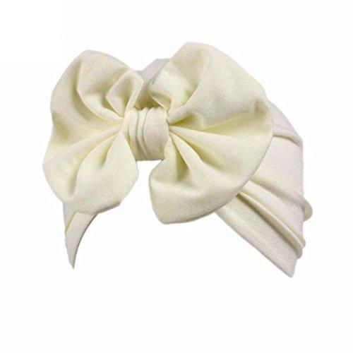Knotted Fleece Scarf (Hatop Children Baby Girls Boho Bowknot Hat Beanie Scarf Turban Head Wrap Cap (Beige))