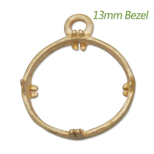 20 Pieces- 13mm Round Raw Brass Gemstone Settings for DIY Design