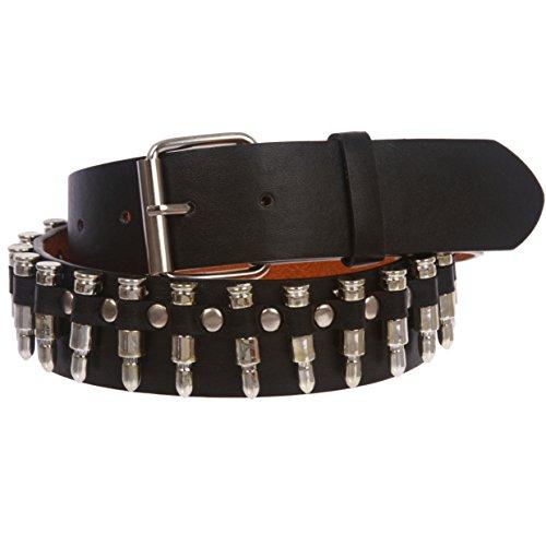 Snap On Imitation Bullets Leather Belt, Black | m-34