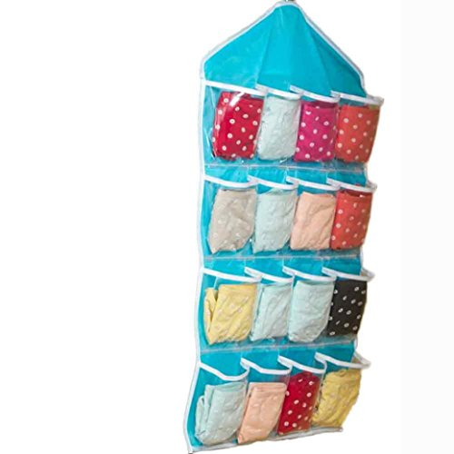 Wall Pockets Blue Peel - Sunfei Multifunction Clear Socks Shoe Toy Underwear Sorting Storage Bag Door Wall Hanging Closet Organizer-16 Pockets (Blue)