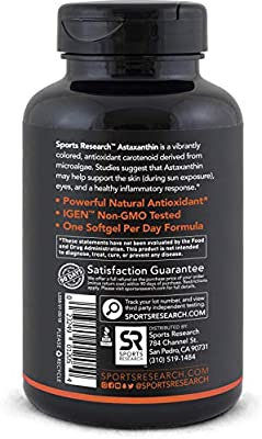 Triple Strength Astaxanthin (12mg) with Organic Coconut Oil for Better Absorption - 60 softgels
