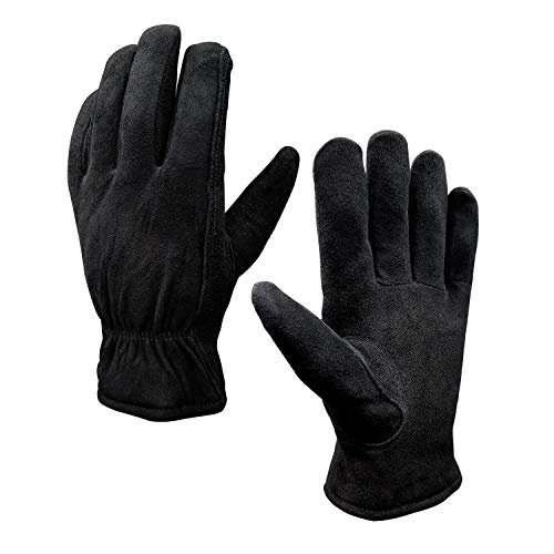 (SKYDEER Winter Work Gloves with Windproof & Wear-Resistant & Thick Full Deerskin Leather Suede (Unisex SD8671T/XL))
